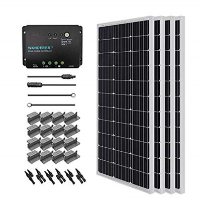 Image for Renogy RNG-KIT-STARTER400D-WND30 400 Watt 12 Volt Monocrystalline Solar Starter Kit