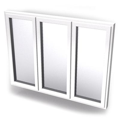 imagen para Intakt inward opening window 2+1 glass 3-light with mullions All three leaves open