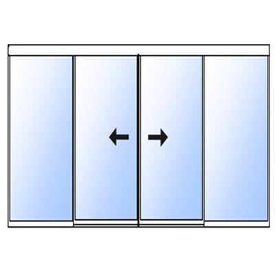 afbeelding voor Extra slank dubbel schuifdeursysteem met vaste zijpanelen