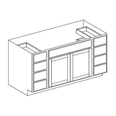 """Image for Vanity Sink Base Cabinet - Double Door, Eight Drawer - 21"""" Deep"""