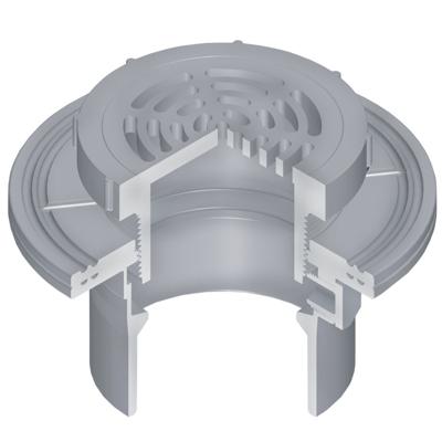 "bild för OceanTUFF™ Floor Drain with CPVC Adjustable Top w/5"" Round Grate & Membrane Collar"
