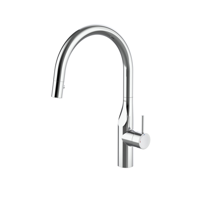 Image for GLERA Single-lever kitchen mixer with curved swivel spout and two-function pull-out shower