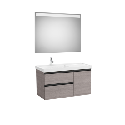 Image for DOMI Pack 1000 left hand basin (base unit w/ two drawers, one door, basin and LED mirror)