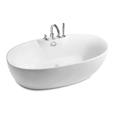 Image for VIRGINIA Oval free standing acrylic one piece bath with bath-shower mixer
