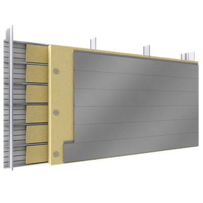 Image for Double skin with steel alu siddings H position trays spacer insulation