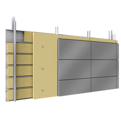 Image for Double skin with steel alu cassettes trays spacers insulation