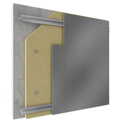 Image for Overcladding with steel alu sidings in vertical pos with insulation