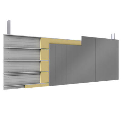 Image for Double skin with steel alu siddings vertical position trays insulation