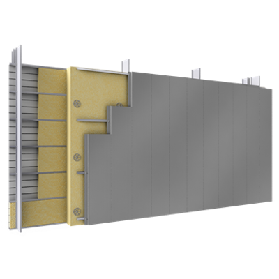 Image for Double skin with steel alu siddings V position tray spacers insulation