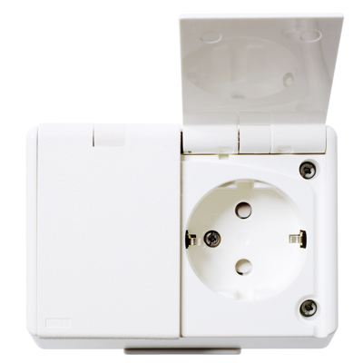 Image for RS16 double socket-outlet IP44 surface PW RAL9003