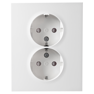 Image for PLUS double socket-outlet full flush screw PW RAL9010