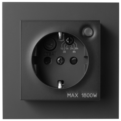 Image for PLUS single socket-outlet with integrated timer BLK RAL9005