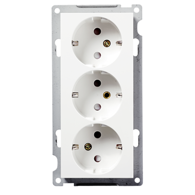 Image for Triple socket outlet RS16 flush PW RAL9003