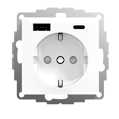 Image for RS16 single socket-outlet with USB A+C PW RAL9003