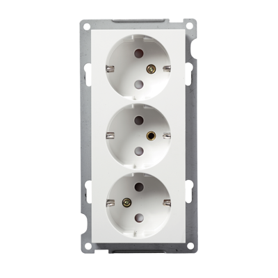 Image for PLUS triple Schuko socket-outlet PW RAL9010