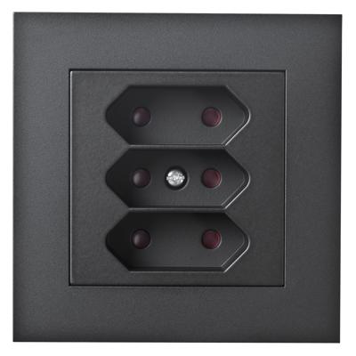 Image for PLUS triple Euro socket-outlet BLK RAL9005