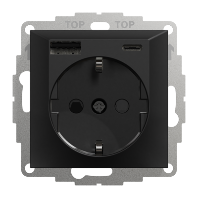 Image for PLUS single socket-outlet with USB A+C BLK RAL9005