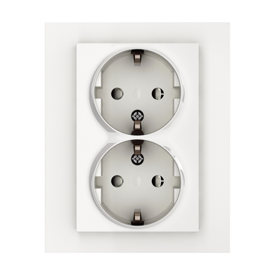 Image for PLUS double socket-outlet screw/screwless PW RAL9010