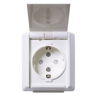 Image for RS16 single socket-outlet IP44 surface PW RAL9003