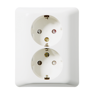 Image for Double socket outlet RS16 flush PW RAL9003