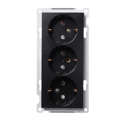 Image for PLUS triple Schuko socket-outlet BLK RAL9005