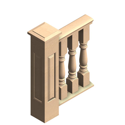 """Image for 3-pc 6"""" Wood Balustrade, Porch Rail"""