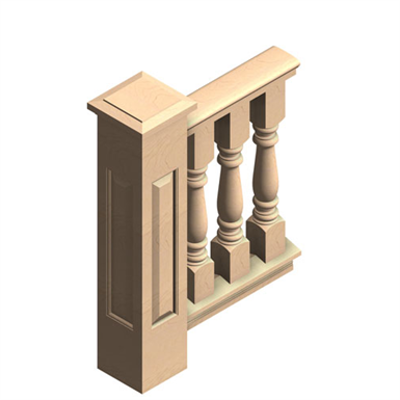 """Image for 4-pc 6"""" Wood Balustrade, Outdoor Porch Railing"""