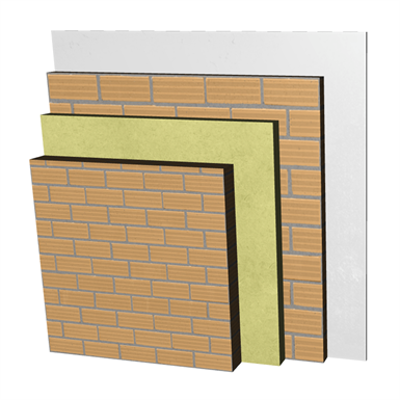 ME02-H-b Double skin clay brick party wall, with thermal insulation. LH11,5+AT+LH7+ENL 이미지