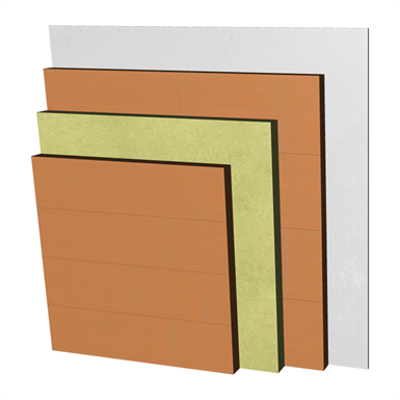 Image for ME01-bgf-bgf Double skin clay brick party wall, with thermal insulation. LHGF7+AT+LHGF7+ENL