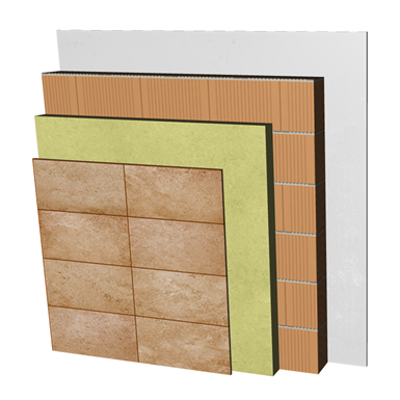 Image for FC25-B1 Single skin clay block façade with ventilated air cavity and external thermal insulation. RD+CV+AT+RC+BC14+ENL