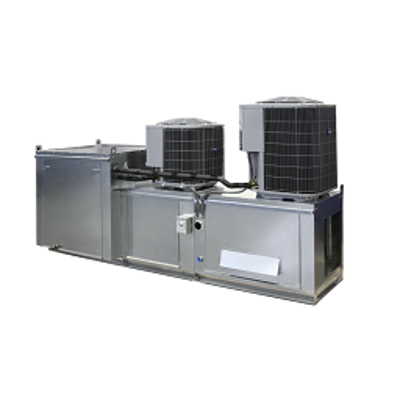 Image for Modular Side/Down Discharge Direct Fired Heater Packaged Unit with Cooling Coil, Evaporative Cooling Intake and V-Bank