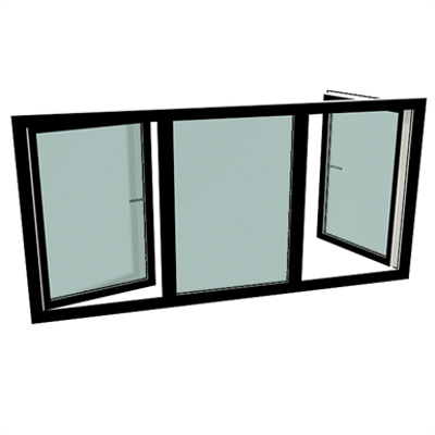 Image for S9000 Three-piece window with turn and tilt windows left and right