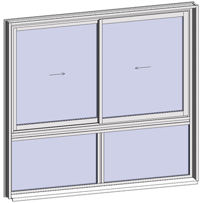 Image for Sliding window 2 rails 2 leaves with sublight