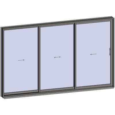 afbeelding voor Sliding window 3 rails 3 leaves
