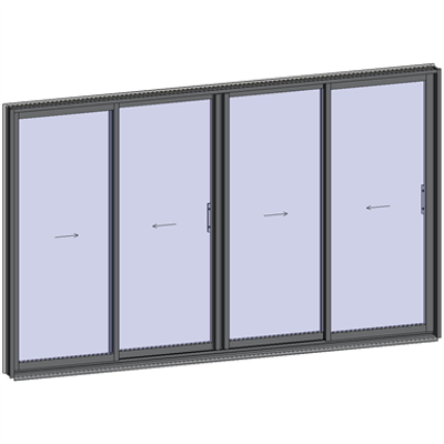 afbeelding voor Sliding window 2 rails 4 leaves
