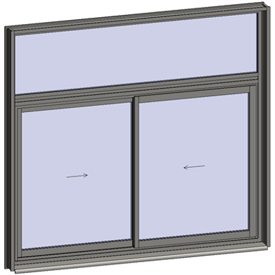 Image for Sliding window 2 rails 2 leaves with transom