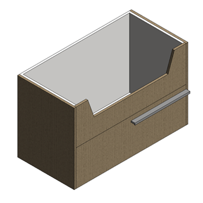 Image for Sense Cabinet partially enclosed - 2 drawers h450 700 1