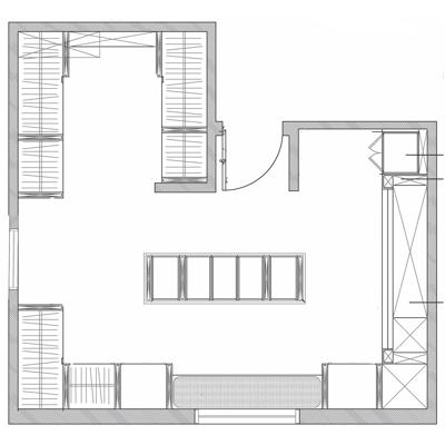 Image for ShelfTrack EVO Walk-in Closet Custom Adjustable Solid Wood Melamine Shelving Sample Layout