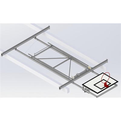 Image for Roof Mounted Matchplay Basketball Goal 8,1-8,5m, Timber backboard 1200x900 mm Forward hoisted