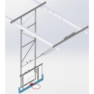 Image for Roof Mounted Matchplay Basketball Goal 8,1-8,5m, Acrylic backboard 1800x1050 mm Forward hoisted