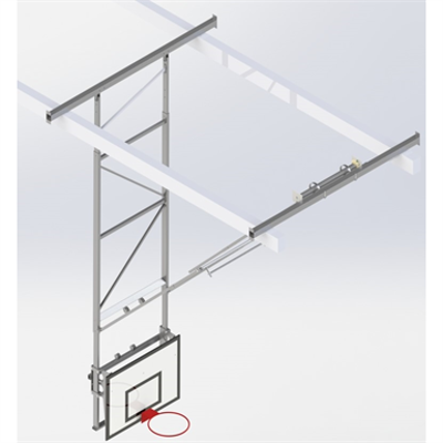 Image for Roof Mounted Matchplay Basketball Goal 7,6-8,1m, Timber backboard 1200x900 mm Forward hoisted