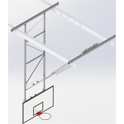 Image for Roof Mounted Matchplay Basketball Goal 8,1-8,5m, Timber backboard 1800x1050 mm Forward hoisted