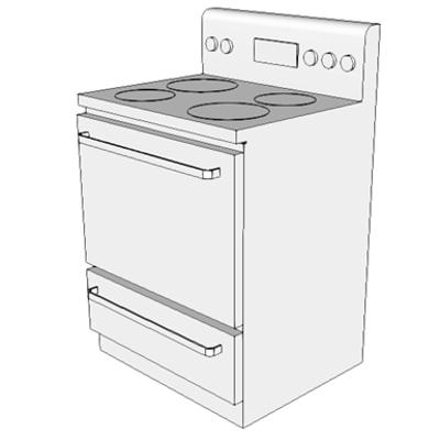 изображение для K4500 - Stove, Household, 4 Burner, w/Oven, Electric