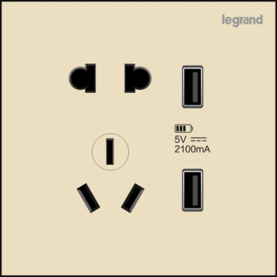 Image for Chinese 5P Socket with Double USB Charging Female Port, K9R/426/US/U-C2