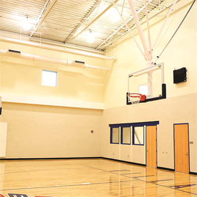 Image for TB-25S Ceiling-Suspended Rear Folding Basketball Backstop