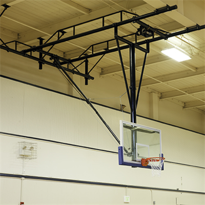 Image for TB-25 Ceiling-Suspended Rear Folding Basketball Backstop