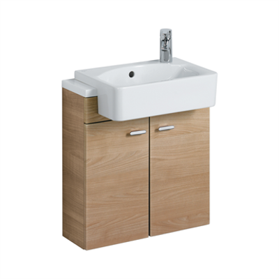 Image for Concept Cube 50cm Short Projection Semi-Countertop Washbasin, Glazed Back 1 LH Taphole