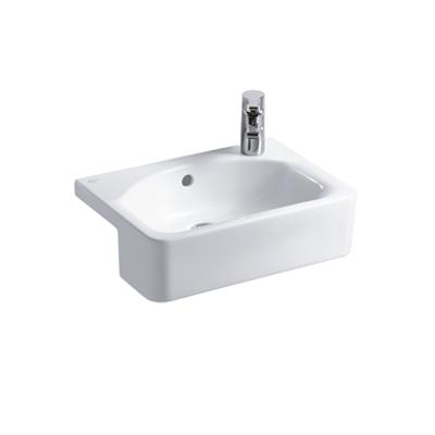 Image for Concept Cube 50cm Short Projection Semi-Countertop Washbasin, Glazed Back 1 RH Taphole