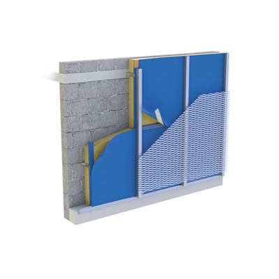 Image for Façade with extended metal cladding and DELTA®-FASSADE COLOR (U-value = up to 0.213 W / m² • K)