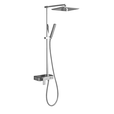 kuva kohteelle Single lever wall-mounted shower mixer column set with panel and button diverter